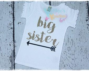 Big Sister - Sibling Shirt - Announcement - HTV Shirt - Vinyl Shirt