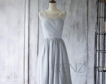 Chiffon Bridesmaid Dress,Medium Gray Short Wedding Dress,Illusion Neck Prom Dress,Lace Tulle Party Dress Tea Length(F255)-Renzrags Renz