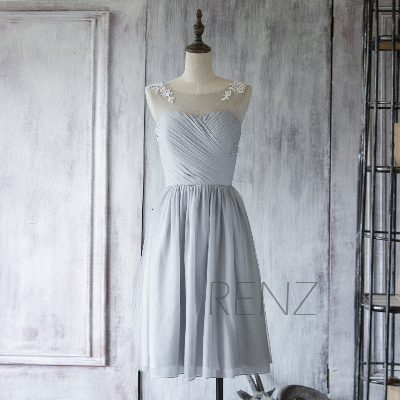 Chiffon bridesmaid dressmedium gray short wedding zoom ombrellifo Images
