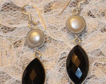 Natural Black Onyx Fresh Water Pearl Silver Plated Dangle Earrings