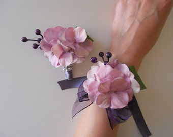 Vintage Pink, Lilac and Purple Hydrangea Wrist Corsage and Matching Bout