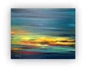 """Original abstract oil painting - unique contemporary abstract artwork - blue, green. orange - Ready to Hang - 15,7"""" x 19,7"""""""