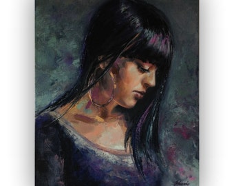 """Miles Away - Original oil portrait painting - unique contemporary portrait painting - rich texture, palette knife painting - 19,7"""" x 15,7"""""""