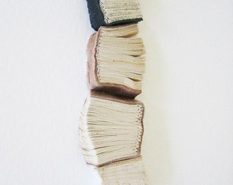 Original Artwork - Avant, maintenant, encore et toujours (Before, Now, Again, and Forever) - Book art, leather, light beige, dark brown, 5x7