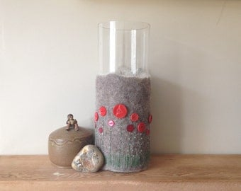 Red poppy felted vase, handmade wet felted vase cover with vintage button and stitched detail.