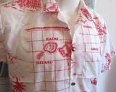 Vintage 1960s Hawaiian Shirt Hawaiian Map & Historical Landmarks Shirt Medium