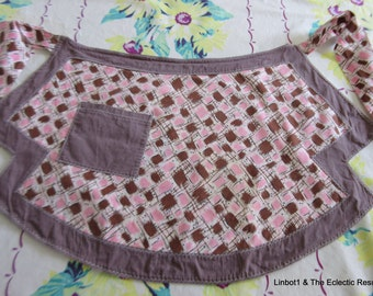 Vintage 1940s-1950s Apron Pink & Brown Mid-Century Mod Fabric