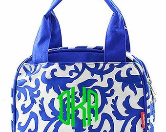 Personalized Canvas Damask Insulated Lunch Tote - Royal Blue and White Lunch Box - Monogram FREE