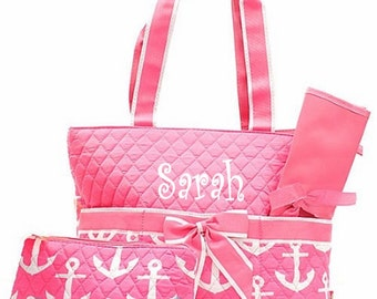 Personalized Anchor Diaper Bag Set - Baby Girl Pink & White Diaperbag 3 piece set Monogrammed FREE