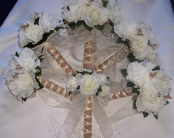 Ivory wedding Bouquets  20 pc package
