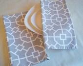 Gray and White Slub Fabric Tea Towel
