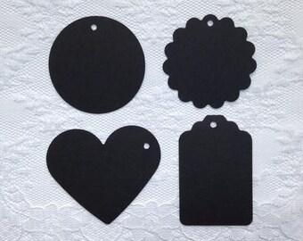 25 BLACK Heart Scalloped Circle Hang Tag Shape Cardstock Paper Gift Tags