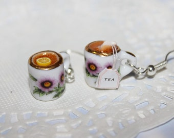 Tea Party Earrings - Lemon Tea Earrings - Mini Food Earrings - Dollhouse tableware Earrings - tea for two