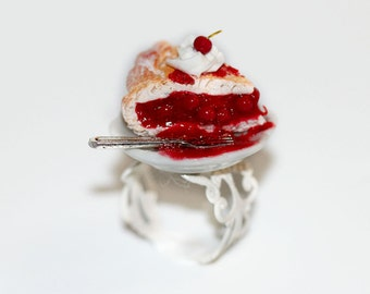 Cherry Pie Ring - Food Ring - Miniature Food Jewelry - Miniature Cherry Pie - Miniature dessert - Polymer Clay Food - Cherry on the cake