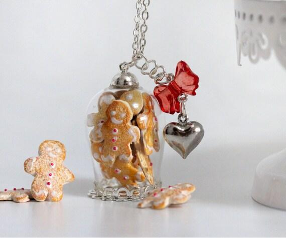 Cookie Jar Necklace Gingerbread Man Necklace Bottle
