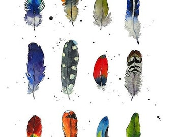 Art Print - Feathers - Art - Illustration - from Original Ink and Watercolour Illustration