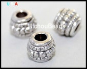 25 ANTIQUED Silver 8mm Tibetan Style DRUM Spacer Bead - 8X6mm w/ Large 3.4mm Hole Boho Nickel Free Metal Beads - Instant Ship fr USA - 5735