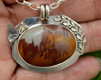 "Sterling silver butterfly pendant.  Noreena jasper stone pendant necklace.  ""flutterby"""