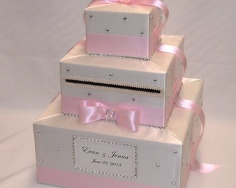 Ivory/Light Pink Wedding Card Box-rhinestones/crystal accents-any colors can be made