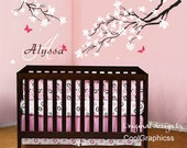 flower wall decal baby name decal vinyl wall decals wall mural nursery branch wall decal - cherry blossom branches with baby name