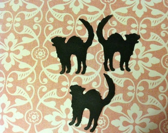 25 Scary BLACK CATS Hand Punched Halloween Die Cuts, Halloween Confetti, scrapbooking, cards, embellish