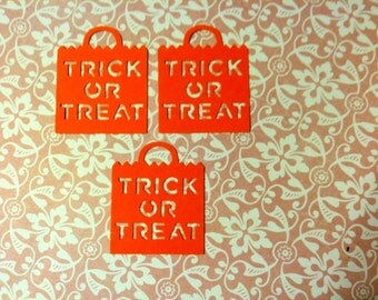 25 Orange TRICK OR TREAT bag decoration Hand Punched Halloween Die Cuts Confetti, scrapbooking, cards