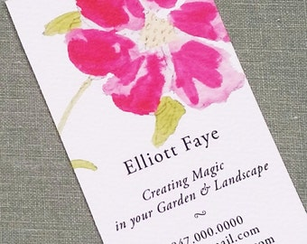 Business Card with Hot Pink Magenta Flower, Set of 50