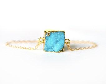 Square Gold Dipped Druzy Stone Pendant Minimalist Bracelet / Gold Druzy Bracelet