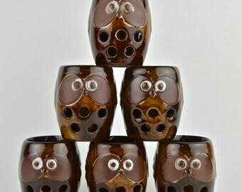 Rare Vintage Set of 6 Sōmaware Owl Cups for Saké or Tea