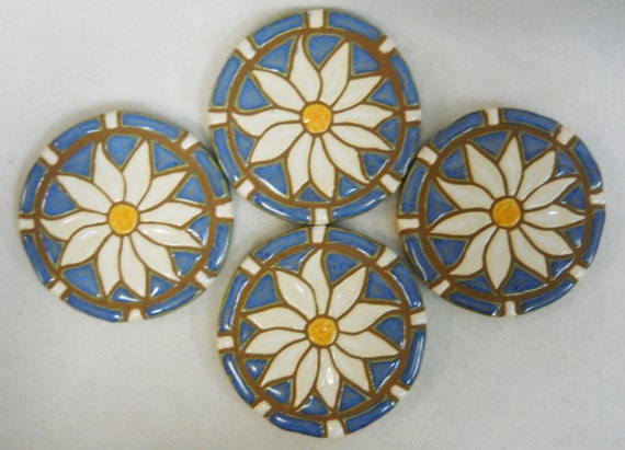 DAISY  Mosaic Art Handmade Ceramic Tile Coaster Set of 4