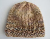 "Child's Soft Wool Handknit Hat. Chemo Cap. Fits head sizes 16"" to 19"". OOAK, Ready to Ship"