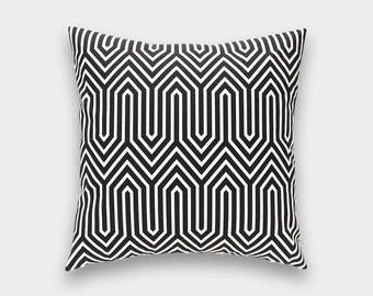 CLEARANCE 50% OFF Black Geometric Decorative Pillow Cover. 18X18 Inches. Trails Geometric Throw Pillow Cover.