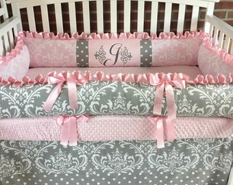 Crib bedding set , Gray Damask / Pink Minky 2-4PC