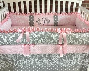 Crib bedding set , Gray Damask / Pink Minky