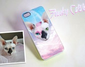 Custom Pet Plastic iPhone Case - Personalized Pastel Galaxy Space Cat Art iPhone, Kawaii Laser Cat