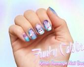 Kitten Revenge Space Cat Nail Decals - Pastel Nail Wraps Nail Art Galaxy Kitten Laser Cat Heart Pink Cosmos Pastel Goth