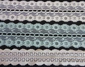 "Vintage Lace Trim Yardage - three different lengths - Two shades of creamy white & teal - fine lace for inserts or edging, ""Le Lace Factory"""
