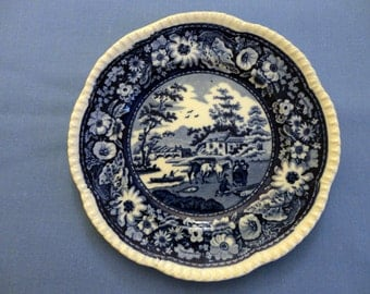"Vintage Decorator Plate, blue & white outdoor scene, pattern ""Nature"", scalloped edge, beautiful flower garland border, ""Royal Cauldon Eng"""