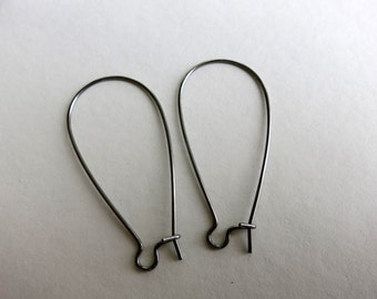 """Stainless Steel Kidney EARWIRES,  1 1/2"""" length, 20 Pairs"""