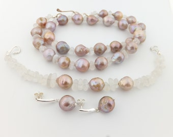 Kasumi pearl necklace bracelet earrings set, ripple pearls, moonstones, pink-mauve, blue flashes, freshwater, jewelry: Simply Adorned