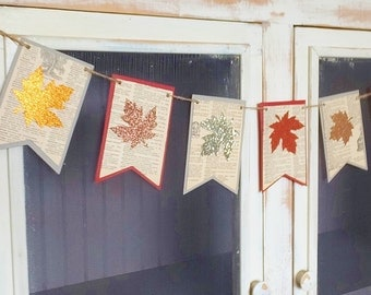 Autumn Leaves Banner ~ Fall Wedding / Home Decor ~ Glitter Fall Leaves ~ Photo Prop