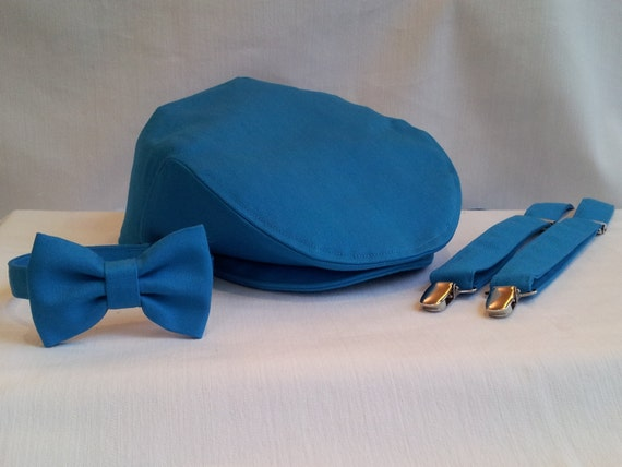 Teal Newsboy Cap Suspenders Bow Tie Set Teal Ring Bearer