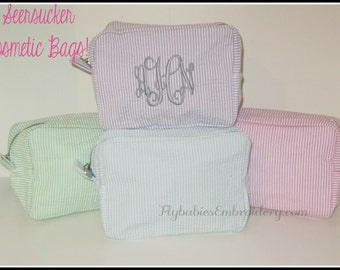 Monogrammed  Seersucker Cosmetic Bag ~ Personalized  Seersucker Bag ~ Monogrammed Seersucker Bag ~ Bridesmaid Gift - 5 colors QUICK SHIPPING