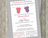 Joint Baby Shower Invitation, polka dot onesies, Two girls, Watermelon Pink and Purple Digital, Printable file