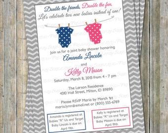 Joint Baby Shower Invitation, polka dot onesies, Navy and Dark Pink Digital, Printable file