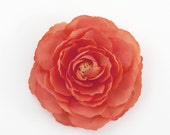 Coral Ranunculus Flower Hair Clip and Pin - Coral Pink Orange Salmon Realistic Rose Flower - Clip in Hair or Pin to Jacket or Hat