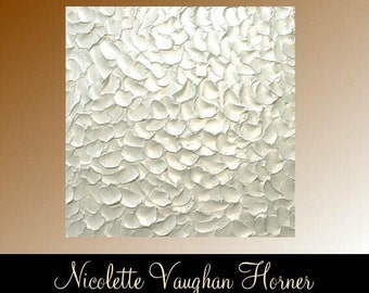 Gorgeous Contemporary Metallic White painting,Original  Art,lots of texture Ready to hang  by Nicolette Vaughan Horner