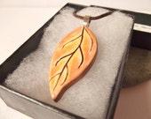 Ceramic Pottery Woodland Leaf Pendant, Autumn Jewellery, Fall Jewellery, Orange Jewellery, Autumn Pendant, Leaf Jewellery