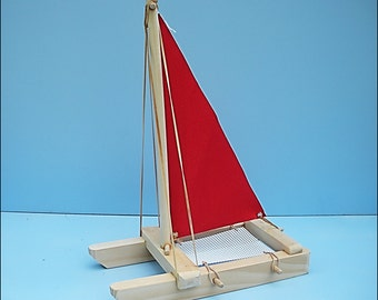 SAILBOAT Red, Toy Sailboat, Wood Toy Boat, Pool Toy, Wooden Toy, Easter Gift Toy, Catamaran, Sailboat, Wood Sailboat, Boat, Wooden Boat