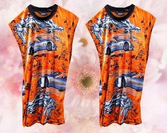 Orange Sheer Racecar Dragon Flame Grunge Raver Sleeveless Shirt